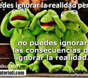 Puedes ignorar la realidad pero no puedes ignorar las consecuencias de ignorar la realidad. (Ayn Rand)